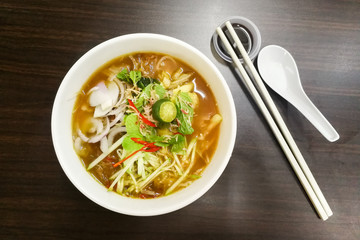 Penang Asam Laksa with prawn paste, popular Malaysian cuisine