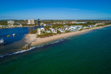 Drone image of the Hillsboro Lighthouse Florida