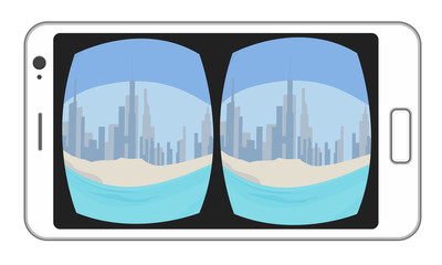 VR Virtual reality video image at mobile smartphone device, AR augmented reality, MR mixed reality. Vector illustration colorful isolated on white background