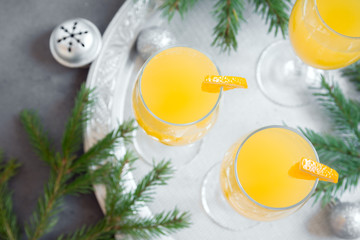 Mimosa cocktail for Christmas