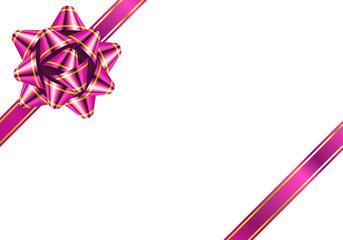 リボン 花形 縁 ピンク