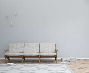 Interior design simple scene. Modern scandinavian interior. 3d render studio.