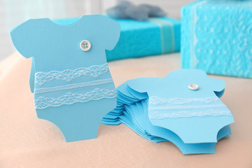 Baby shower thank you cards on light background