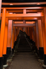 Famous red gates of the Fushimi Inari Shrine, Kyoto, Japan