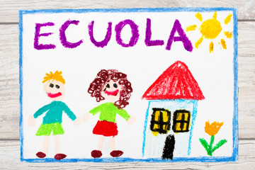 Photo of  colorful drawing: Italian word SCHOOL, school building and happy children. First day at school.