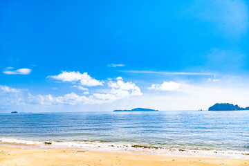 seascape and sun on blue sky background in the summer season,Overlight tone.