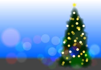 クリスマス イルミネーション ツリー 背景青