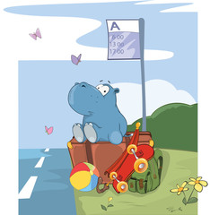 Illustration of a Cute Hippo Traveler. Cartoon Character