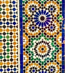 Arabesque tiles pattern in volourful morocco