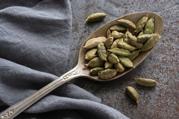 Cardamom Pods on Vintage spoon