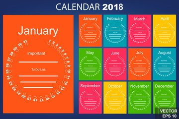 The calendar. New Year. 2018. Date. Round. For your design.