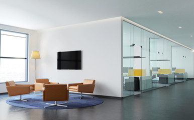 Fototapeta Contemporary modern offices interior with lounge  obraz
