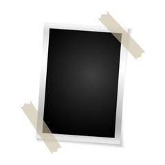 Frame retro photo on white background. Vintage vertical blank old photography on sticky tape. Vector illustration