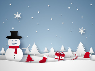 Merry Christmas and Happy New Year , winter landscape with snowman and ornaments , paper art style