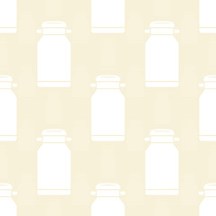 Metal can for milk. Silhouette on a beige background. Seamless pattern.