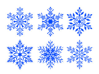 Snowflake vector icon set. Winter Christmas snow is a flat crystal element. Christmas design.