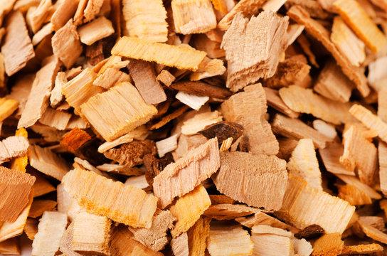 Pile of wood smoking chips