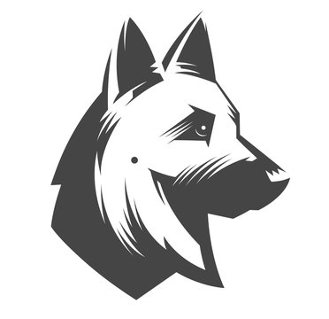 German Shepherd head - vector illustration, emblem design on white background