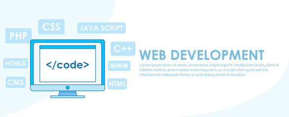 Web development banner. Computer with window A computer with a browser window. Studying different programming languages.