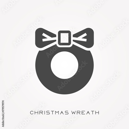 Christmas Wreath Silhouette.Silhouette Icon Christmas Wreath Stock Image And Royalty