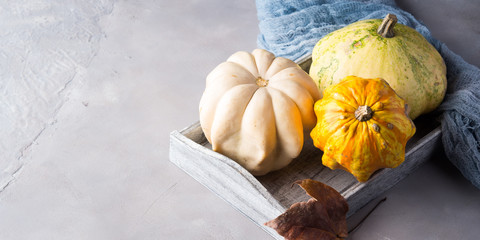 Autumn fall background with decorative pumpkins on wooden tray