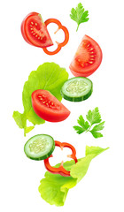 Foto op Plexiglas Groenten Isolated falling vegetables. Slices of tomato, cucumber, red bell pepper and lettuce leaves (fresh salad ingredients) in the air isolated on white background with clipping path
