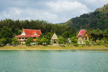 Buddhist temple on the island of Phuket in Thailand