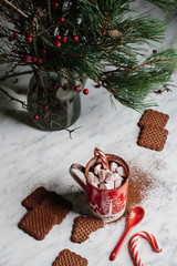 Cup of peppermint hot chocolate with marshmallows and cookies. Pine and hawthorn decoration in the background