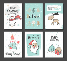 Christmas hand drawn cute cards with bear, trees, reindeer, snowman, Santa Claus and other items. Vector illustration.