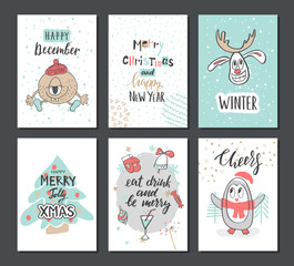 Christmas hand drawn cute cards with reindeer, Xmas tree, penguin and other items. Vector illustration.