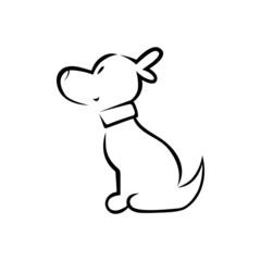 Cute cartoon puppy with a collar silhouette
