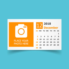 December 2018 calendar. Calendar planner design template with place for photo. Week starts on sunday. Business vector illustration.