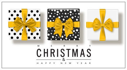 Merry Christmas and Happy New Year. Greeting card with gifts boxes set with bow. Vector illustration.