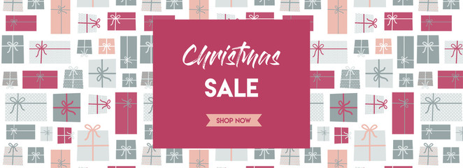 christmas sale banner. christmas present background. vector illustration