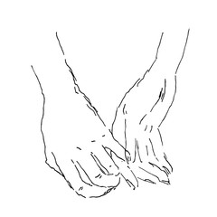 Vector sketch with holding hands. Man and woman hold their hands