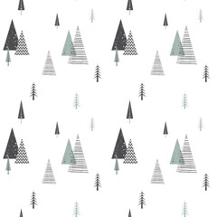 Christmas winter forest landscape . seamless pattern . Abstract Vector illustration