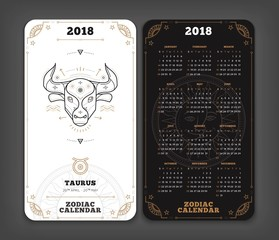 Taurus 2018 year zodiac calendar pocket size vertical layout Double side black and white color design style vector concept illustration