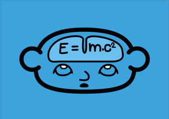 A head and a brain icon showing the formula of relativity. Vector Illustration