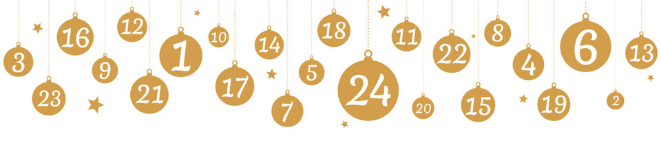 Advent calendar with hanging golden balls