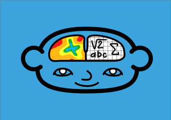 A head icon representing the two brain hemispheres. Vector illustration