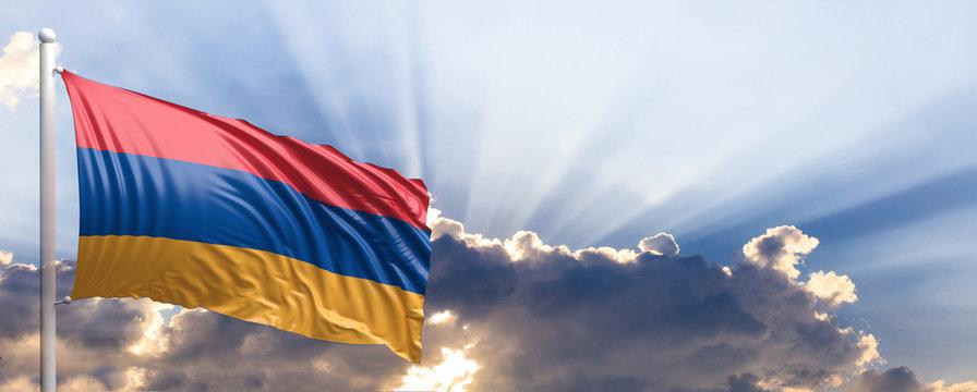 Armenia flag on blue sky. 3d illustration