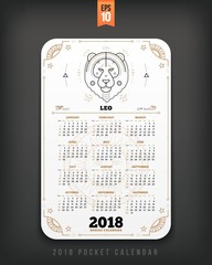 Leo 2018 year zodiac calendar pocket size vertical layout White color design style vector concept illustration