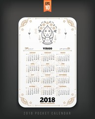 Virgo 2018 year zodiac calendar pocket size vertical layout White color design style vector concept illustration