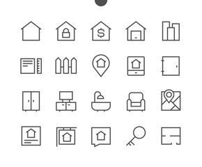 Real Estate Outlined Pixel Perfect Well-crafted Vector Thin Line Icons 48x48 Ready for 24x24 Grid for Web Graphics and Apps with Editable Stroke. Simple Minimal Pictogram