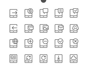 Tablet UI Pixel Perfect Well-crafted Vector Thin Line Icons 48x48 Ready for 24x24 Grid for Web Graphics and Apps with Editable Stroke. Simple Minimal Pictogram