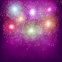 Brightly Colorful Fireworks. Illustration .