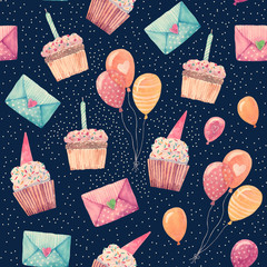 Sweet cupcakes, envelopes and balloons - retro illustrations painted in watercolor. Birthday party decorations in seamless pattern.