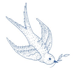 Swift bird vector hand drawn illustration. Sketch of flying swallow with branch