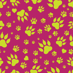 Seamless pattern of dog paw marks. Footprints of a dog's paw isolated on a red background. Vector. Textiles, background, packaging, printing, website