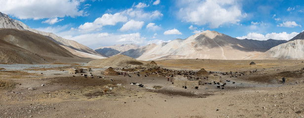View over a yurt camp, summer in the Afghan Wakhan